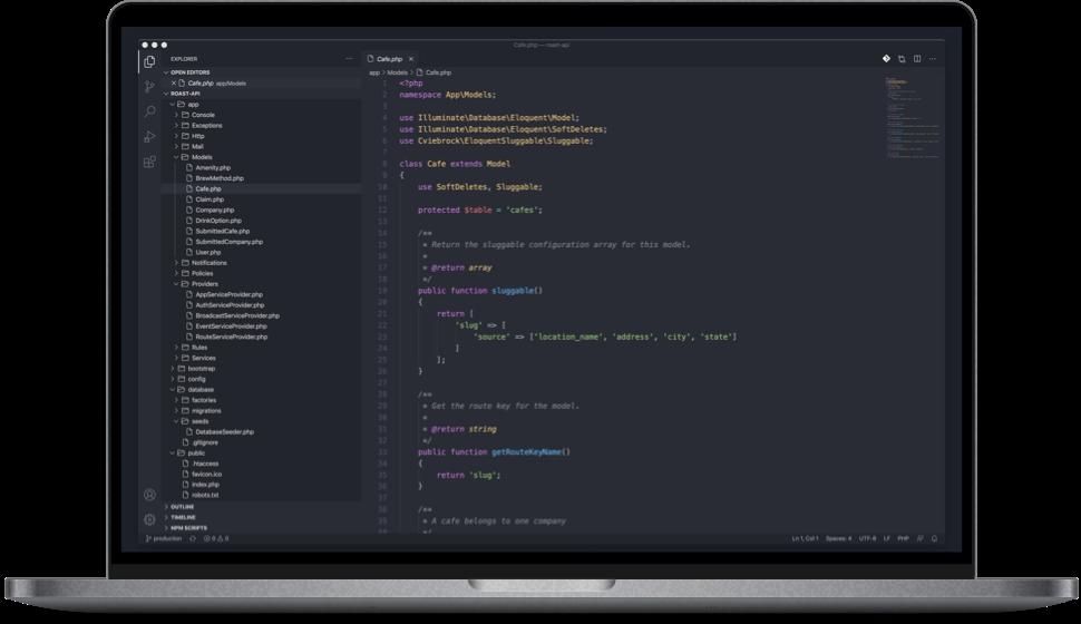 Screenshot of source code repository